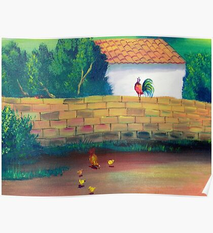 Desert Folk Art - The Proud Rooster Crows  Poster