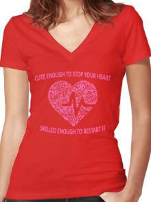 CUTE ENOUGH TO TAKE YOUR BREATH AWAY AND SKILLED ENOUGH TO BRING IT BACK (PINK) Women's Fitted V-Neck T-Shirt