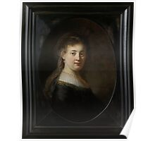 Painting - Young Woman in Fantasy Costume, Rembrandt Harmensz. van Rijn, 1633  Poster