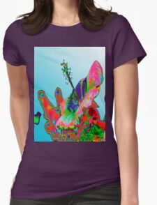 Psychedelic Pink Hibiscus T Womens Fitted T-Shirt