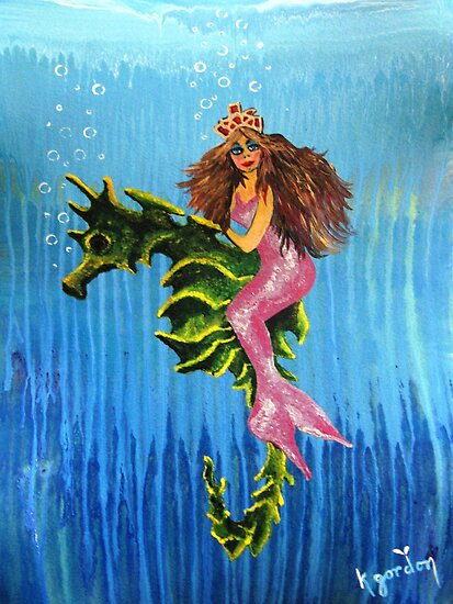 Seahorse & Mermaid by WhiteDove Studio kj gordon