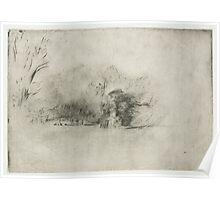 Drawing - Farmhouse among Trees, Rembrandt Harmensz. van Rijn, 1652  Poster