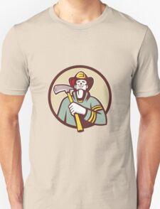 Fireman Firefighter Holding Fire Axe Circle Retro T-Shirt