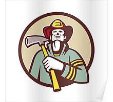 Fireman Firefighter Holding Fire Axe Circle Retro Poster
