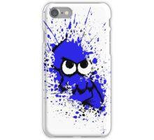 Splatoon Black Squid with Blank Eyes on Blue Splatter Mask White Version iPhone Case/Skin