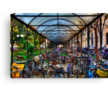 Parking of bicycles Canvas Print