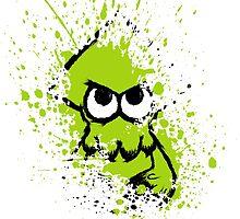 Splatoon Black Squid with Blank Eyes on Green Splatter Mask White Version by Martin Mothiron