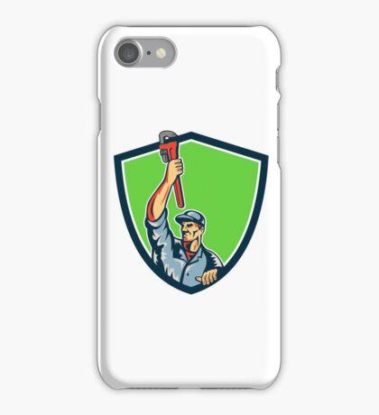 Plumber Raising Up Monkey Wrench Shield Retro iPhone Case/Skin