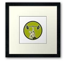Weightlifter Lifting Barbell Circle Retro Framed Print