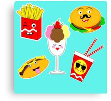 Fun Colorful Trendy Kawaii Fast Food Junkie Pictures Canvas Print