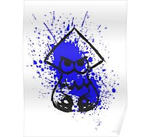 Splatoon Black Squid on Blue Splatter Poster
