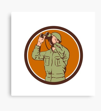 World War Two American Soldier Binoculars Retro Circle Canvas Print