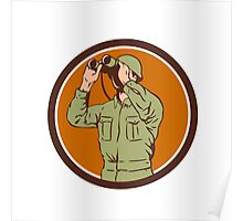 World War Two American Soldier Binoculars Retro Circle Poster