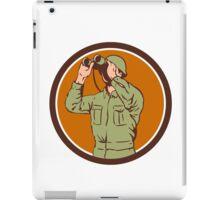 World War Two American Soldier Binoculars Retro Circle iPad Case/Skin