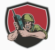 World War Two American Soldier Field Radio Shield by patrimonio