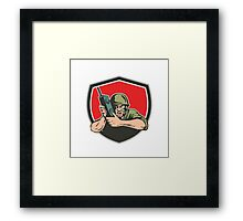 World War Two American Soldier Field Radio Shield Framed Print