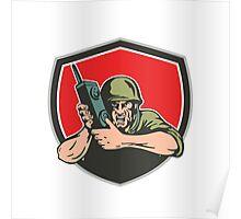World War Two American Soldier Field Radio Shield Poster