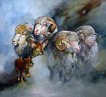 Kelpie Sheep Montage - Australian Kelpie Series by Pieter  Zaadstra