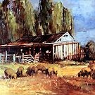 Old Slab Yards and Sheep - Australian Rural Scene  by Pieter  Zaadstra
