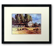 Old Slab Yards and Sheep - Australian Rural Scene  Framed Print