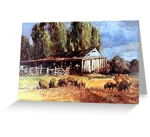 Old Slab Yards and Sheep - Australian Rural Scene  Greeting Card