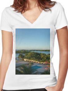 an unbelievable Belize landscape Women's Fitted V-Neck T-Shirt