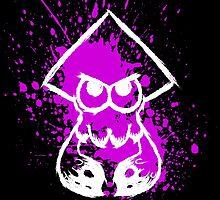 Splatoon White Squid on Purple Splatter by Martin Mothiron