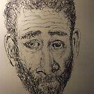 Self-portrait -(190515)- Black biro pen/A5 sketchbook by paulramnora