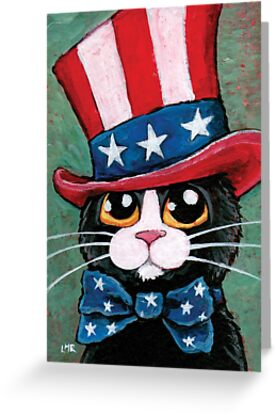 Patriotic Tuxedo Cat (USA) by Lisa Marie Robinson