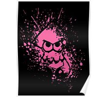 Splatoon Black Squid on Pink Splatter Mask Poster