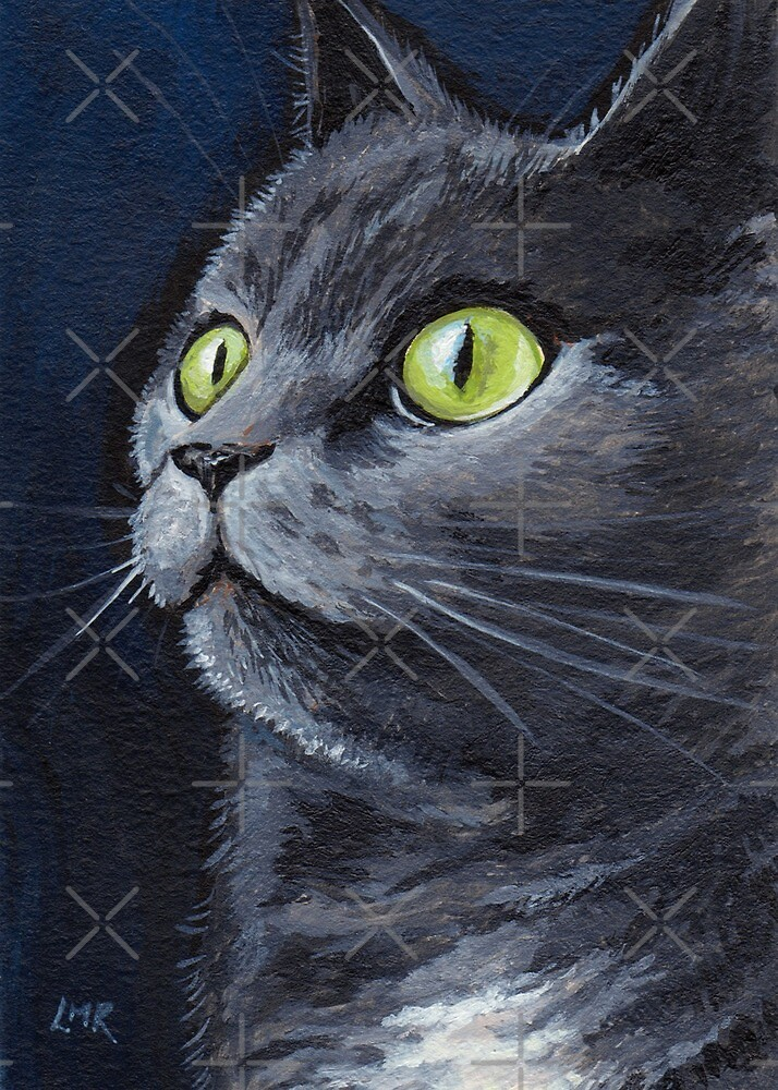 Old Smokey - Green Eyes Grey Cat by Lisa Marie Robinson