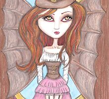 steampunk fantasy big eyes faerie art by JenStedmansArt