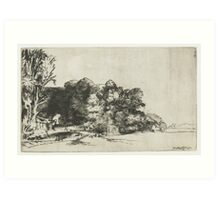 Drawing - Farmhouse among the Trees, Rembrandt Harmensz. van Rijn, 1652  Art Print