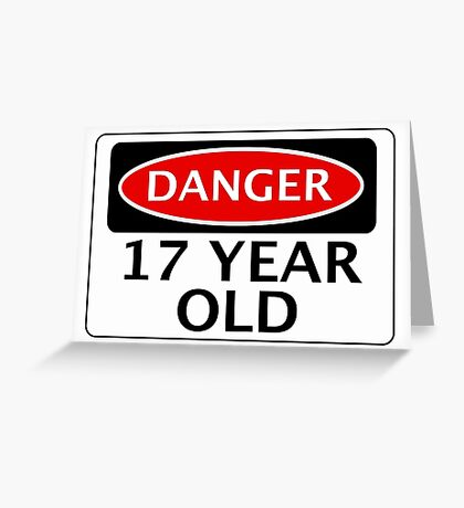 DANGER 17 YEAR OLD, FAKE FUNNY BIRTHDAY SAFETY SIGN Greeting Card