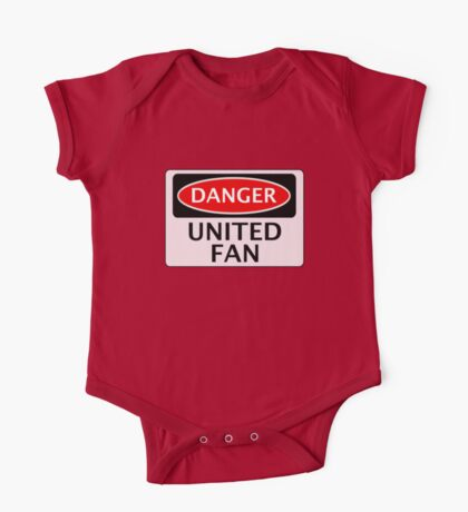 DANGER UNITED FAN, FOOTBALL FUNNY FAKE SAFETY SIGN One Piece - Short Sleeve