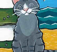 Happy Tabby on the Beach by Lisa Marie Robinson