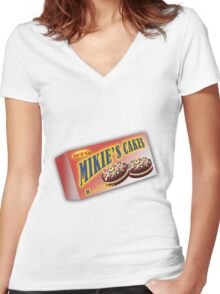 Mikie's Cakes Delux Women's Fitted V-Neck T-Shirt