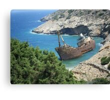Greek Island Ship Wreck Canvas Print