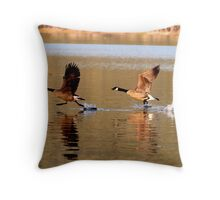 Pair of geese on Collins Lake Throw Pillow