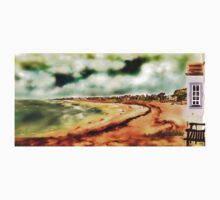 Elie Shorefront [Digital Landscape and Architecture Illustration] Scottish Seaside Towns 2 One Piece - Short Sleeve