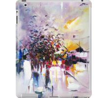 Birds on the street ( abstract city street landscape ) iPad Case/Skin
