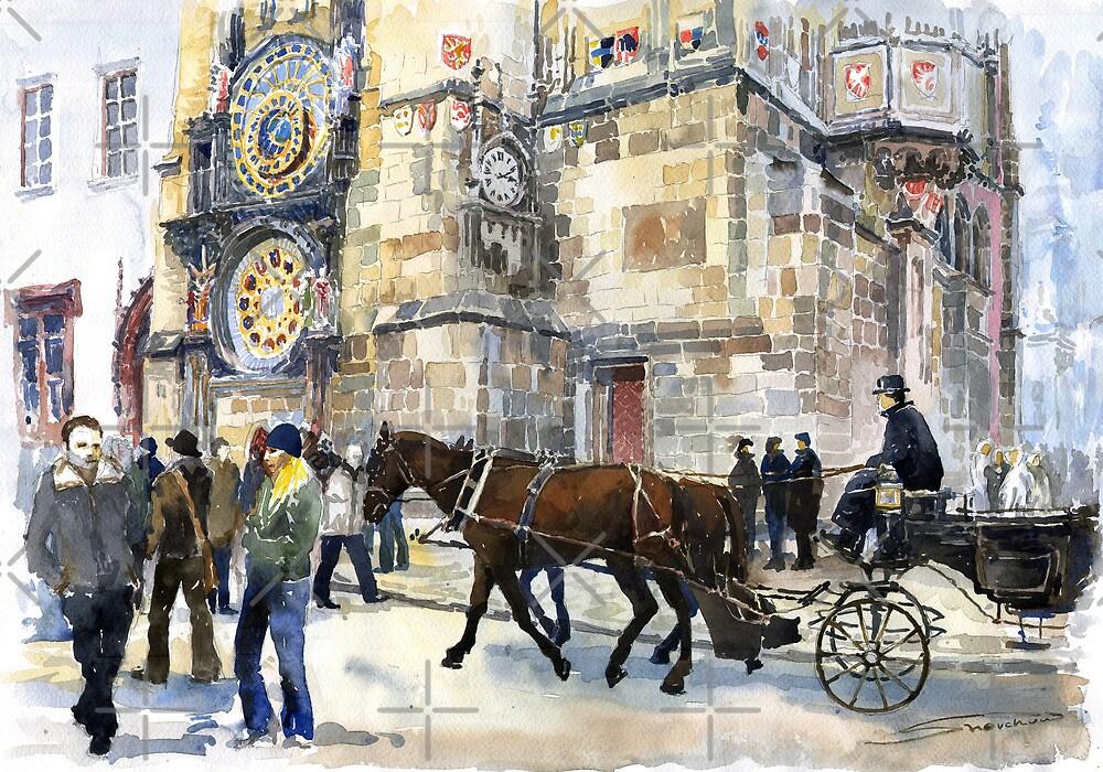 Prague Old Town Square Astronomical Clock or Prague Orloj by Yuriy Shevchuk
