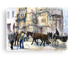 Prague Old Town Square Astronomical Clock or Prague Orloj Canvas Print