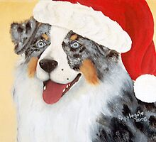 Christmas ~ Australian Shepherd ~ oil painting by Barbara Applegate