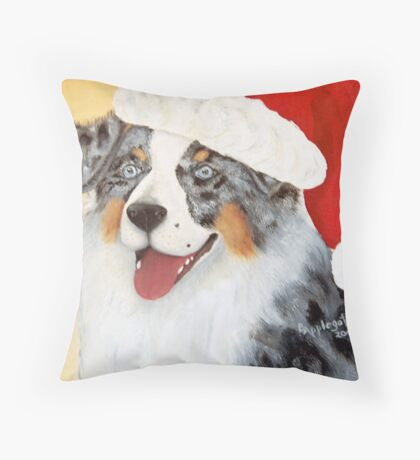 Christmas ~ Australian Shepherd ~ oil painting Throw Pillow