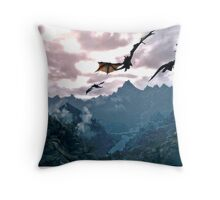 dragon over the mountain Throw Pillow