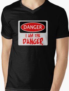"""DANGER """"I AM THE DANGER"""", FUNNY FAKE SAFETY SIGN Mens V-Neck T-Shirt"""