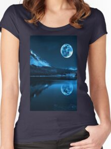 Night. Full Moon Women's Fitted Scoop T-Shirt