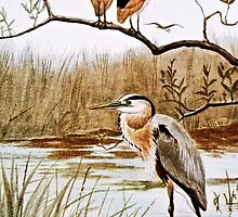 Herons Vintage Art by goldenmenagerie