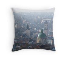 Lviv in fog Throw Pillow